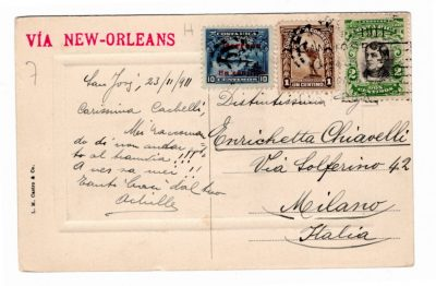 postcard with mixed franking